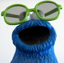 Kruemelmonster mit 3D-Brille