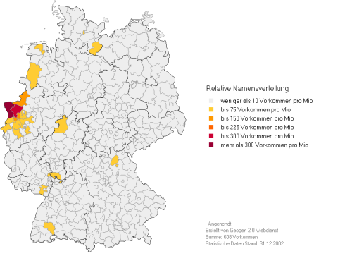 Relative Verteilung der Angenendts in Deutschland
