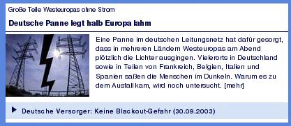 Tagesschaumeldung über Stromausfälle in Deutschland